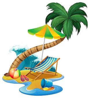 Strandszene mit sitz und regenschirm