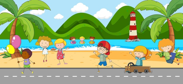 Strandszene mit vielen kindern kritzelt zeichentrickfigur