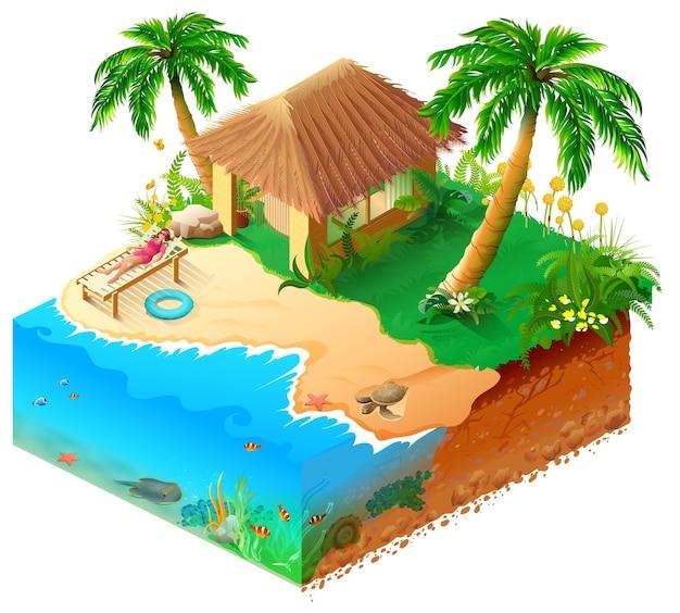 Strandurlaub auf tropischer insel isometrisch. frau im bikini, in den palmen, im meer und in der hütte.