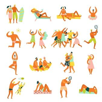 Strandurlaub menschen cartoon-stil figuren tanzen praktizieren yoga sonnenbaden surfen spielen tennissammlung isoliert.