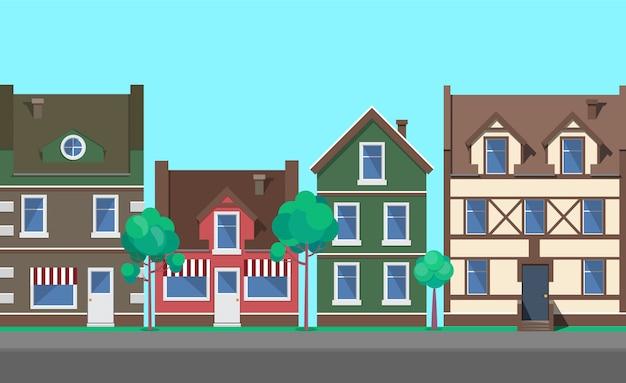 Straße der alten stadt, stadt mit architektur-vektor