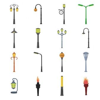 Straße der gesetzten ikone der lampenkarikatur. gesetzte ikone der parklaternenpfahl-karikatur. straße der lampe.