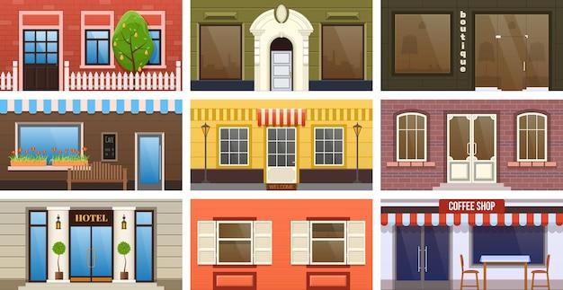 Straße einzelhandelsgebäude außenset. immobilienarchitektur-cartoon-vektor