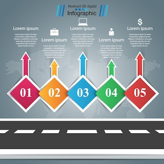 Straße, geschäft infographic. fünf gegenstände
