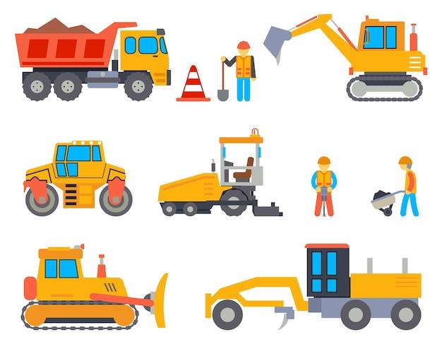 Straße im bau flache symbole gesetzt. autoindustrie, straßenarbeiten, maschine und fertiger, transportindustrie, vektorillustration