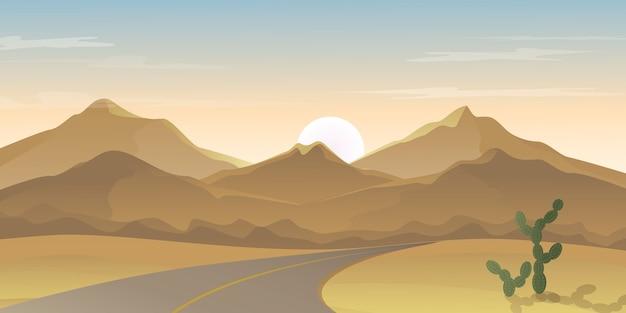 Straße in richtung der berge reihe auf der wüste, abbildung der sonnenuntergang-landschaft auf der wüste