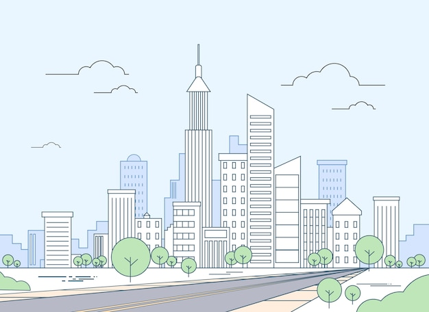 Straße zum modernen stadt-ansicht-wolkenkratzer-stadtbild