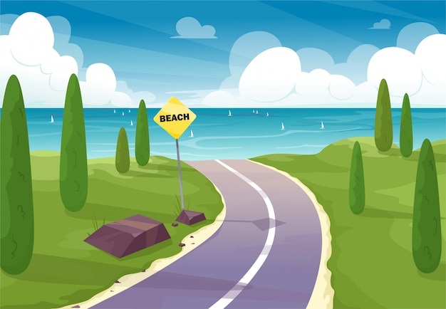 Straße zum strand. schöne straße auf der natürlichen landschaft zum strand mit einem zeiger, zeichen.
