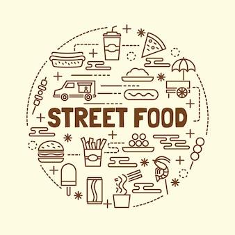 Straßen essen minimal dünne linie icons set