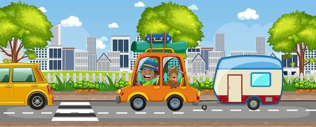 Straßen-outdoor-szene mit vielen autos