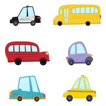 Straßenalphabet und straßennummern set von kinderautos im cartoon-stil lustiger transport