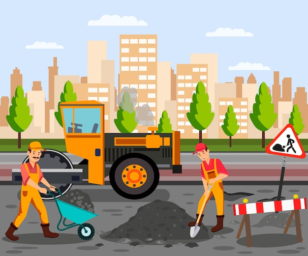 Straßenarbeiten, asphaltpflaster-flache farbillustration