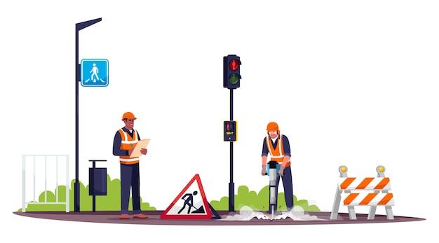 Straßenarbeiter halb rgb farbabbildung. arbeiter, der beton mit pneumatischem hammer bohrt. männlicher straßenbauarbeiter und vorarbeiterkarikaturfigur auf weißem hintergrund
