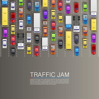 Straßenautotransport, stauhintergrund. vektor-illustration