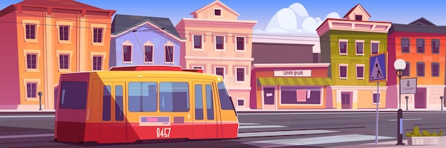 Straßenbahnfahrt auf retro-stadtstraße. trolley auf vintage-stadtbild, straße mit schienen, antike gebäude, laterne, fußgängerüberweg.