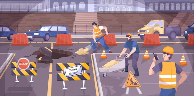 Straßenbauschilder flache zusammensetzung mit arbeitern reparieren die straße und es gibt schilder auf der straße