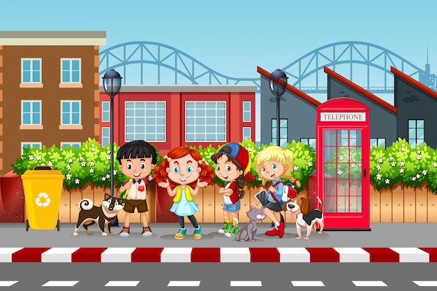 Straßenbild für kinder und haustiere