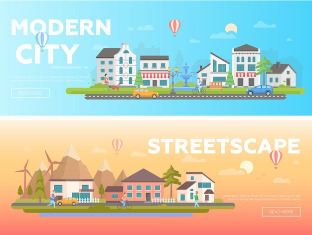 Straßenbild - reihe von modernen flachen vektorgrafiken mit platz für text auf orangefarbenem und blauem hintergrund. zwei varianten von stadtlandschaften mit gebäuden, aktiven menschen, brunnen, kirche, hügeln, autos