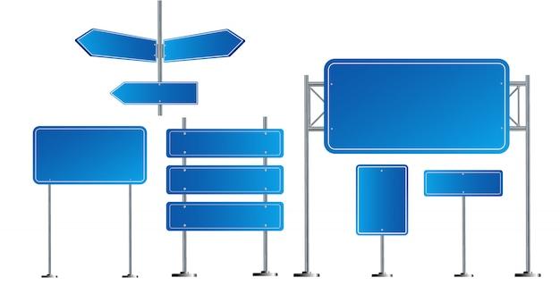 Straßenblaue verkehrszeichen gesetzt. leeres brett mit platz für text. attrappe, lehrmodell, simulation. isoliertes hinweisschild. richtung. illustration