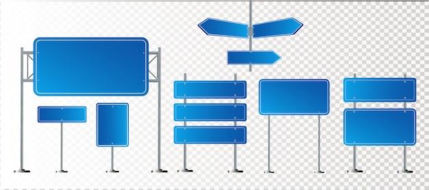 Straßenblaue verkehrszeichen gesetzt. leeres brett mit platz für text. . isoliertes hinweisschild. richtung. illustration