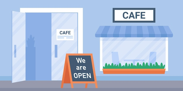 Straßencafé-außenhaus mit fenster und glastür und wir sind offener coffeeshop urban