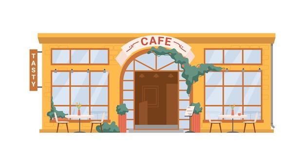 Straßencafé-café isolierte flache cartoon-gebäudefassade außenvektor-sommerrestaurant mit