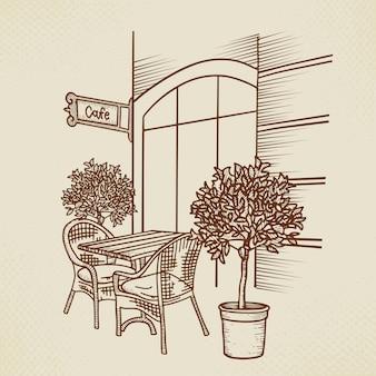 Straßencafé in der grafischen darstellung der altstadt. hand gezeichneter straßencafétisch, zwei stühle und pflanze. skizze für menüentwurf, skizzenrestaurant, außenarchitektur, papierweinleseillustration