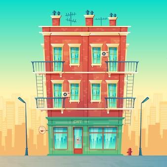 Straßencafé in der wohnmehrstöckigen wohnung, städtisches geschäft, restaurant nach innen