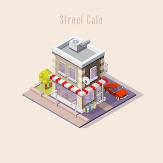 Straßencafé isometrisch, illustration. restaurant mit geparktem auto. ein mann besucht ein café. zweistöckiges gebäude