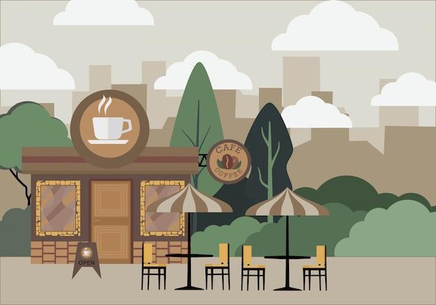 Straßencafés, cafés und bänke.