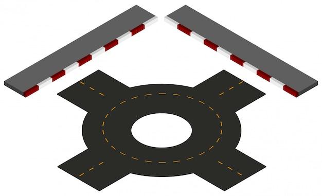 Straßendesign mit kreisverkehr und bürgersteigen