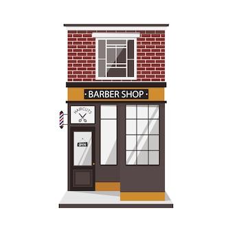 Straßengebäude fassade des friseursalons im vintage-stil.