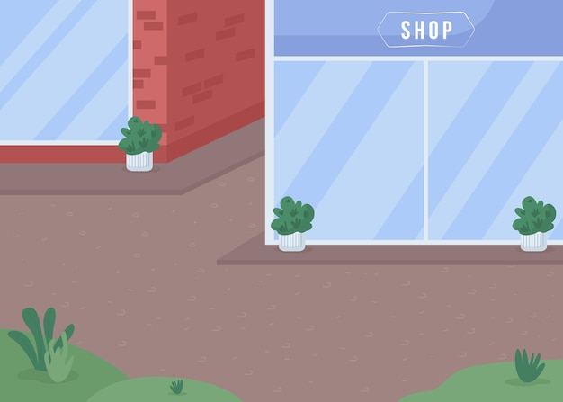Straßengeschäfte flache farbabbildung. mit schaufenster speichern. bürgersteig in der nähe des gebäudes. städtische landschaft. geschäftshaus. 2d-karikaturstadtbild der innenstadt mit schaufenster auf hintergrund