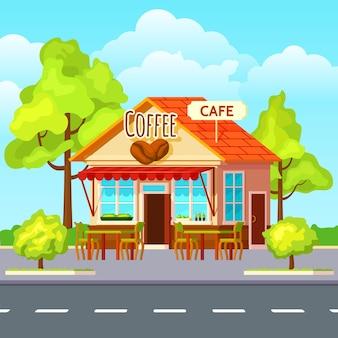 Straßenkaffee im freien zusammensetzung