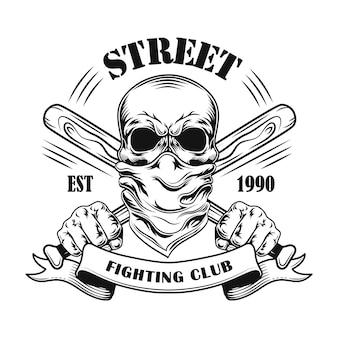 Straßenkampfmitglied-vektorillustration. schädel im kopftuch, gekreuzte baseballschläger und text