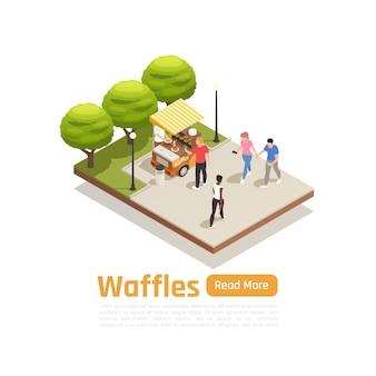 Straßenkarren-lkw-isometrische fahne und isolierter kompositions-lkw im park mit süßigkeiten-illustration,