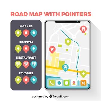 Straßenkarte mit zeigern in der flachen art
