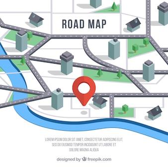 Straßenkarte mit zeigern in der isometrischen art