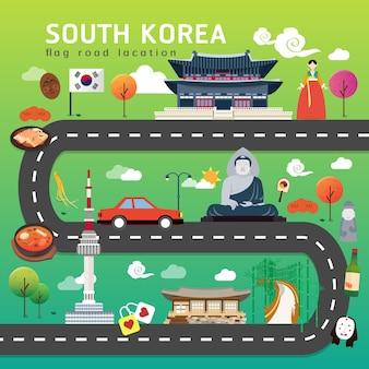 Straßenkarte und reiseroute in südkorea
