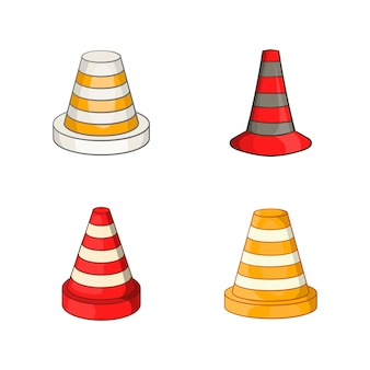 Straßenkegel-elementsatz. karikatursatz leitkegel-vektorelemente