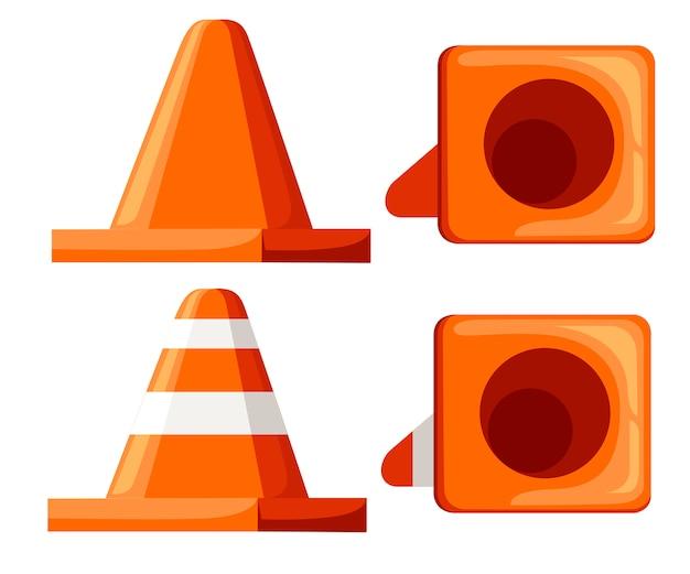 Straßenkegel-symbolsatz. orange sammelkegel der flachen sammlung. illustration lokalisiert auf weißem hintergrund.