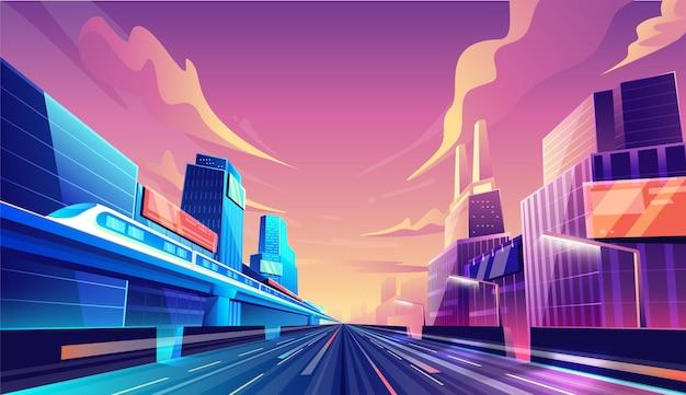 Straßenkonzept der intelligenten stadtstraße. stadtbild, wolkenkratzergebäude und zughintergrund.