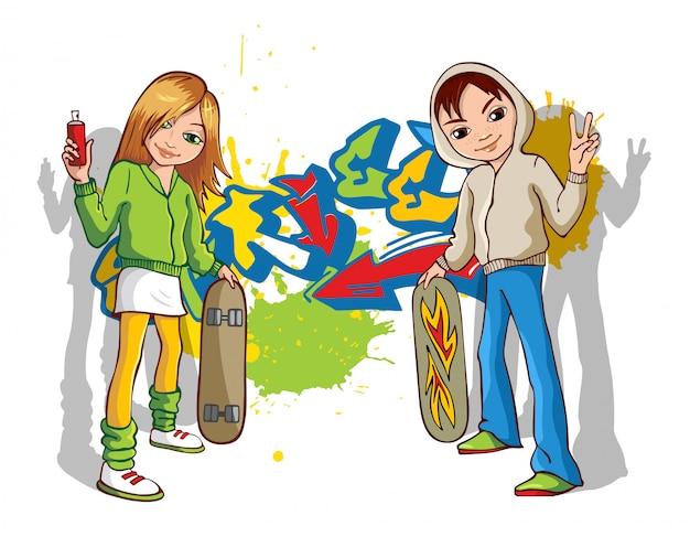 Straßenkünstler-teenager, die graffiti an wand malen. urban fashion, teen lifestyle, kreative hobbyaktivität.