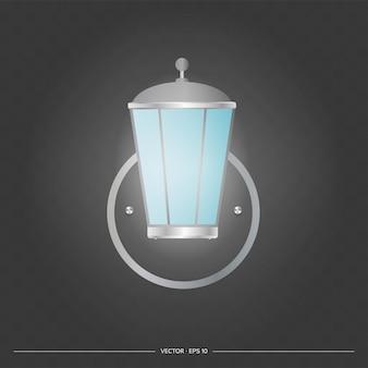 Straßenlampe. laternenpfahl aus metall. realistische vektorillustration.