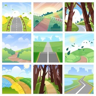 Straßenlandschaftsstraße im wald oder weg zum feld landet mit gras und bäumen in der landschaftsillustration