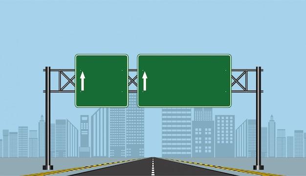 Straßenlandstraßenzeichen, grünes brett auf straße, vektorillustration