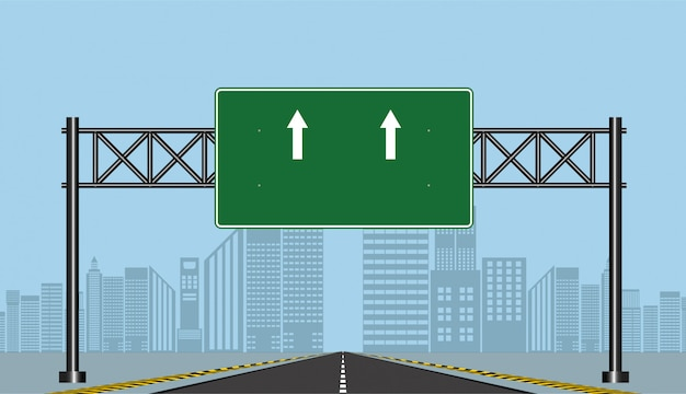 Straßenlandstraßenzeichen, grünes brett auf straße