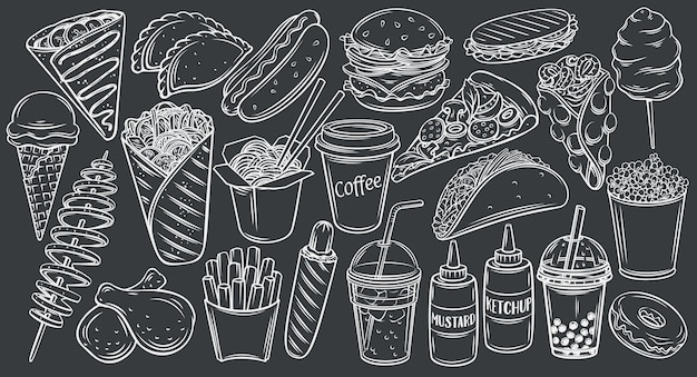 Straßenlebensmittelikonen auf schwarzer tafelumrissillustration