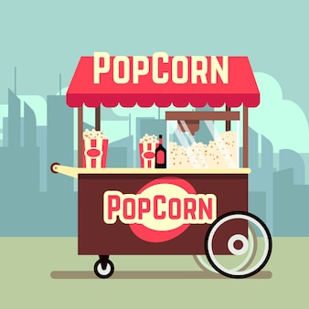 Straßenlebensmittelverkaufswagen mit popcornmaschine. vector beweglichen kiosk mit popcorn, illustrationstroll