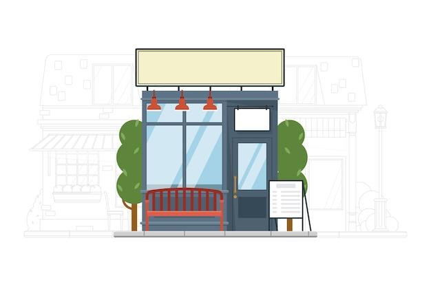 Straßenmarkt. außenfassade des kleinen straßenmarktgebäudes mit bank auf stadtbildarchitekturschattenbild. shop front illustration